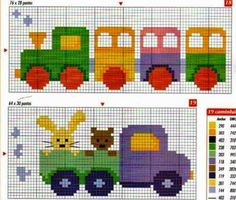 Truck and Train Baby Toys Cross Stitch Pattern Cross Stitch For Kids, Cross Stitch Baby, Cross Stitch Charts, Cross Stitch Designs, Cross Stitch Patterns, Cross Stitching, Cross Stitch Embroidery, Embroidery Patterns, Knitting Charts