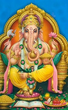 Lord Ganesha , son of Lord Shiva and Goddess Parvati, is worshiped in Hindu Religion as the god of beginnings, knowledge, wisdom, intellect and remover of obstacles. One always starts any prayer, ritual or occasion by worshiping the Beloved Elephant God. Lord Ganesh blessings are also sought before starting any new venture. Lord Ganesha is also referred to as Ganapati, Gajanana, Vinayaka, Vighneshawar and Pillaiyar.