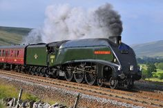 """E.R. """"A4"""" pacific, No. 60009, """"Union of South Africa"""", seen at Ais Gill, heading southbound on the Carlisle to Settle Railway, hauling the return leg of the """"Hadrian"""""""