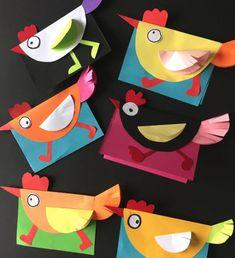 Lavoretti di Pasqua per bambini: un biglietto colorato a forma di gallina - Maestro Alberto Paper Crafts Origami, Paper Crafts For Kids, Cardboard Crafts, Diy For Kids, Arts And Crafts, Easter Art, Easter Crafts, Chicken Crafts, Art N Craft