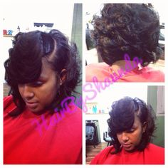 Curly bob hair cut / hair by shaunda www.shopsaloncass.com short hair cut