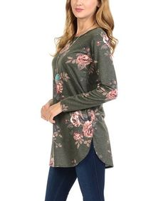 Look at this #zulilyfind! Heather Olive French Terry Split-Hem Scoop Neck Top #zulilyfinds