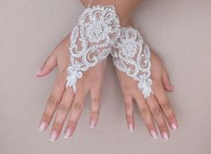 Free ship Ivory lace Wedding gloves pearl by ByMiracleBridal