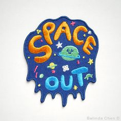 Space Out Patch is 7 x 8 cm It is super cool, colorful and perfect for someone who is crazy about outside of the SPACE!  When dispatched, the patch will