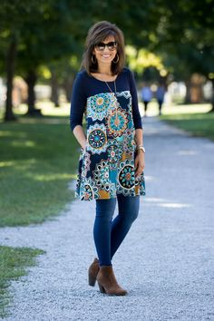Fall Fashion-Floral Tunic - Grace & Beauty