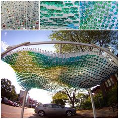 Have you ever seen this colourfully beautiful canopy from discarded plastic bottles ?  Check instructions--> http://wonderfuldiy.com/wonderful-diy-stunning-parking-canopy-from-plastic-bottles/