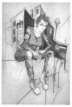 Martin Karcher: Calamity Jane 08 (Lehrter Straße); Radierung, 20 x 30 cm; 2014