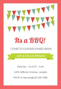 Printable Barbeque Party Invitation Template Birthday Baby  Bbq
