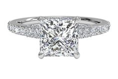 Princess Cut Diamond Engagement Ring with French-Set Diamond Band - in White Gold (0.45 CTW)