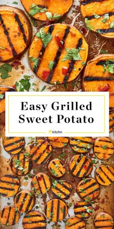 Easy Grilled Sweet Potatoes Simple grilled sweet potatoes pair deliciously with a spicy honey-lime vinaigrette. Easy Grilled Sweet Potatoes Simple grilled sweet potatoes pair deliciously with a spicy honey-lime vinaigrette. Grilled Sweet Potatoes, Grilled Veggies, Sweet Potatoes On Grill, Potatoes On The Bbq, Grilled Carrots, Sweet Potato Slices, Sweet Potato Recipes, Sweet Potato Bbq, Sweet Potato Grill Recipe