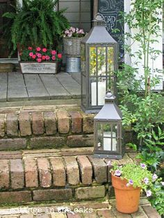 Summer Front Porch. I love these stone steps and lanterns