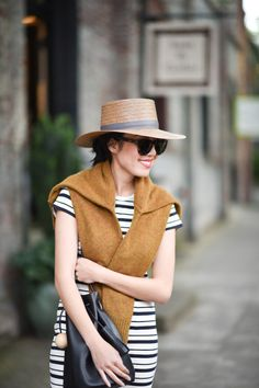 striped dress with sweater and hat