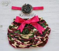 Daddy loves this, if Baby is girl we'll definitely buy it! :) -Camo Flower Satin Headband and Camo Matching by KemailyBoutique