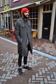 red  beanie beard tumblr style coat men tumblr
