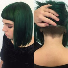 green hair and undercut - Google Search