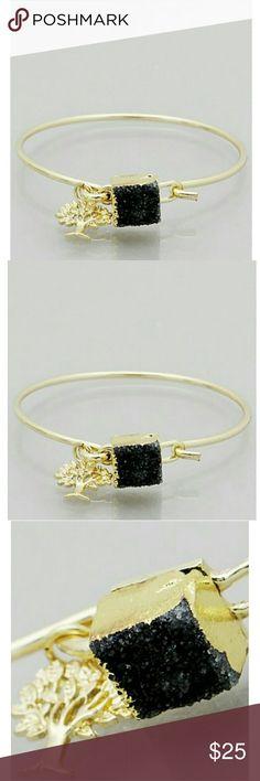 BEAUTIFUL GENUINE DRUZY TREE OF LIFE CHARM BANGLE Beautiful gold tree of life charm bracelet with genuine druzy. Perfect for layering or on it's own. Your daily chic bracelet! shopjewelry  Jewelry Bracelets