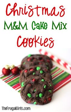 Christmas M&M Cake Mix Cookies Recipe! {the perfect treat for your Christmas parties and holiday cookie exchanges!} #recipes | TheFrugalGirls.com