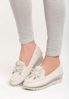 Mocasini cu platforma Energy Bej Oxford, Slippers, Slip On, Flats, Sneakers, Shoes, Fashion, Women's Sandals, Women's