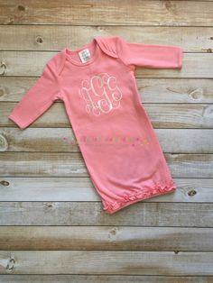 Monogrammed pink baby gown 0-3M by ElizabethsMonograms on Etsy
