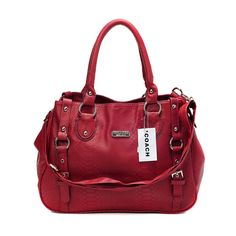Cheap And Fashion Coach Embossed Logo Medium Red Totes DGB Are Here!