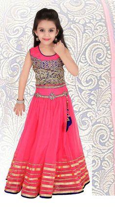 Fantastic Pink Net Readymade Kids Lehenga Choli