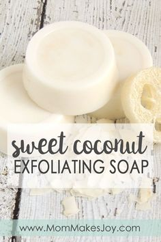 These sweet coconut exfoliating soap bars are made with Island Coconut fragrance oil, melt-and-pour soap base, honey, real coconut flakes, and loofah sponge pieces. | DIY Bath and Body | Soap Making | How to make soap without lye | Mom Makes Joy