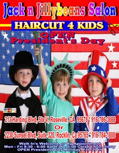 Jack n Jillybeans Salon HAIRCUTS 4 Kids Now With Two Locations FREE Hair Clip and Sparkles With Every Girls HAIRCUT VIDEO Games For the Boys to Play During Their Haircut We're the FUN place for HAIR Families Are Coming From All Over to Check US Out, And They LOVE Us! Yes, We Do Grown Ups Too Ask About our Family DISCOUNT Professionally Trained Staff, We Give Great HAIRCUTS! Baby's First Hair Cut Package We Carry All the Best in Shampoo's, Conditioners and Styling Products We Have the BIGGEST…