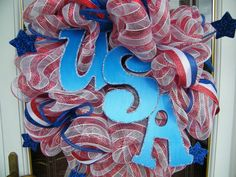 Patriotic Deco Mesh Wreath by CharmedSouth on Etsy, $70.00