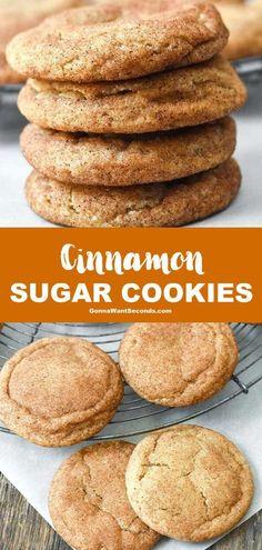 Cinnamon Sugar Cookies (Easy To Make!) - - Cinnamon Sugar Cookies elevate simple sugar cookies to the ultimate in cinnamon yumminess! These melt in your mouth cookies are super easy to make! Cinnamon Sugar Cookies, Pumpkin Spice Cookies, Rolled Sugar Cookies, Chewy Sugar Cookies, Simple Sugar Cookies, Cinnamon Desserts, Cinnamon Biscuits, Milk Cookies, Baby Cookies