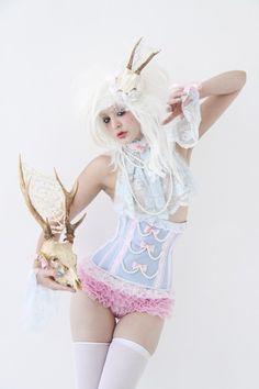 Marie Antoinette Corset, so awesome! And love those pink ruffled panties too!