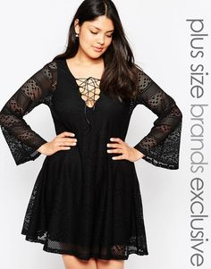 Image 1 ofPink Clove Lace Swing Dress With Flared Sleeves and Tie Neckline