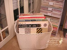 Stamping with Bibiana: How to turn a plastic basket into a rolling carrying tote for paper pads Storage Caddy, Paper Storage, Cube Storage, Craft Storage, Storage Boxes, Storage Ideas, Japanese Store, Memory Box Cards, Plastic Baskets