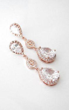 Rose Gold Luxe Cubic Zirconia Teardrop Earring