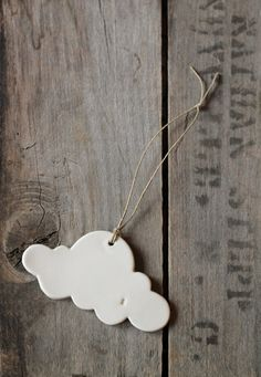 ceramic cloud 9  hanging ornament  white by cravestudio on Etsy