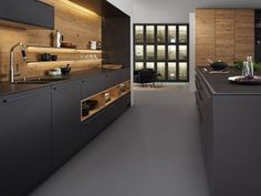 Modern Kitchen Showrooms by German Kitchen Center. Our expert kitchen designers will bring your dream kitchen to reality, with stunning results. Handleless Kitchen, Black Kitchen Cabinets, Big Kitchen, Wooden Kitchen, Ikea Kitchen, Kitchen Shelves, Solid Wood Kitchens, Black Kitchens, Luxury Kitchens