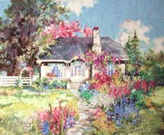 Marty Bell Idaho Hideaway Completed Cross Stitch Picture. $125.00, via Etsy.