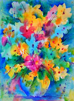 Creative Painting by Martha Kisling She paints and sells beautiful watercolors. Wet in wet background then negative painting to create images.