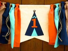 Teepee Birthday Banner HighChair High chair by SeacliffeCottage #tribal #powwow #aztec #camping