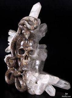 Quartz crystal point cluster w/ carved skull & serpent.