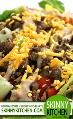(NEW Recipe) Skinny Cheeseburger Salad. Here's an unexpected spin on the classic cheeseburger that's so tasty and fun! Each large, main course salad has 242 calories, 9g fat and 6 Weight Watchers POINTS PLUS. http://www.skinnykitchen.com/recipes/skinny-cheeseburger-salad/