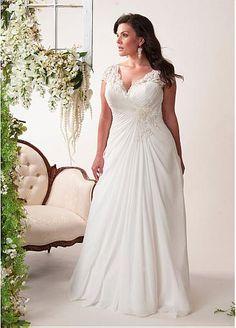 Elegant Chiffon V-neck Neckline A-line Plus Size Wedding Dresses with Lace Appliques