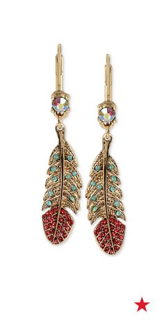 We love adding feather accents to our look for a festival feel. These Betsey Johnson drop earrings feature eye-catching crystal and pavé embellishments.