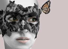 Black Lace Mask with Butterfly