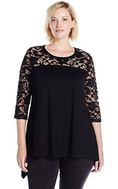 e6ea81f354a Karen Kane Women s Plus Size Lace Yoke Handkerchief Top