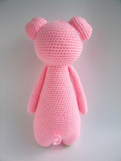 Tall pig with backpack amigurumi pattern by Little Bear Crochet