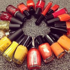#August issue = The Hot Issue. So we rounded up fiery polishes in the #beauty closet. Which color would you rock? #HeatWeek