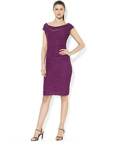 Lauren Ralph Lauren Cap-Sleeve Cowl-Neck Lace Dress  $116