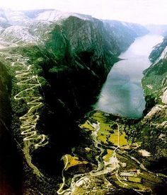 Lysebotn, Norway. 28 turns on the way up :) Beautiful view.