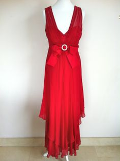 Luisa Spagnoli Red Silk and Lace Dress via The Queen Bee. Click on the image to see more!