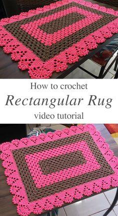 Diy Crochet Rug, Crochet Rug Patterns, Crochet Basket Pattern, Quick Crochet, Crochet Home Decor, Baby Blanket Crochet, Crochet Hooks, Doily Rug, Rectangular Rugs